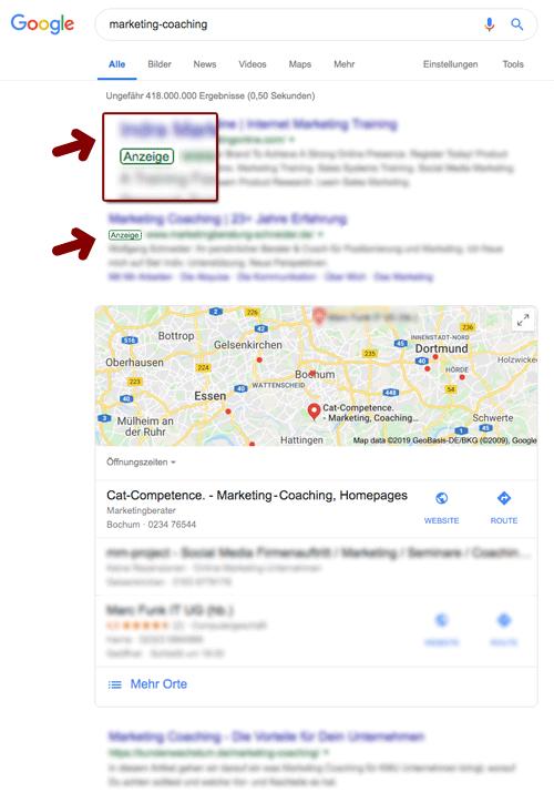 SEA Werbeanzeigen (Ads) in den Suchergebnissen